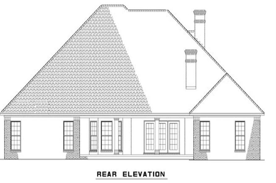 Home Plan Rear Elevation of this 4-Bedroom,2525 Sq Ft Plan -153-1210