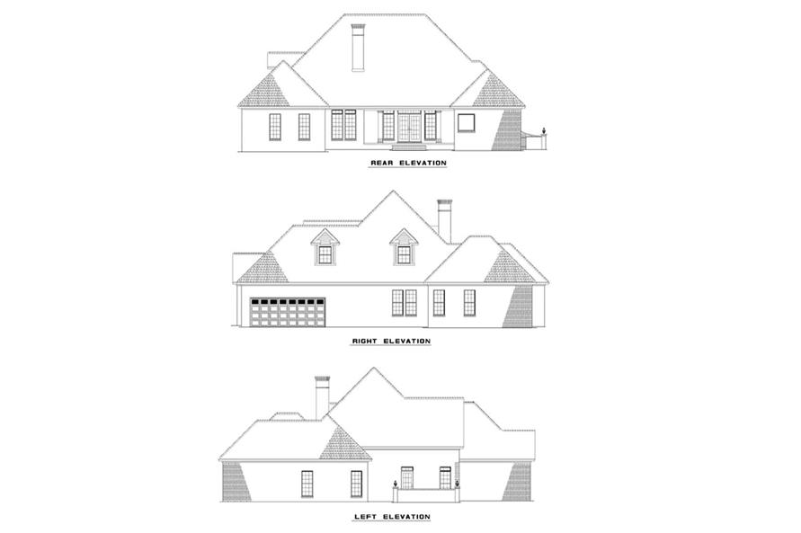 Home Plan Rear Elevation of this 4-Bedroom,2606 Sq Ft Plan -153-1213