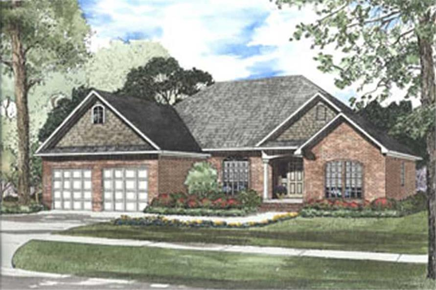 3-Bedroom, 1909 Sq Ft French House Plan - 153-1215 - Front Exterior