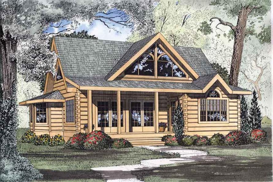 2-Bedroom, 1449 Sq Ft Log Cabin Home Plan - 153-1216 - Main Exterior