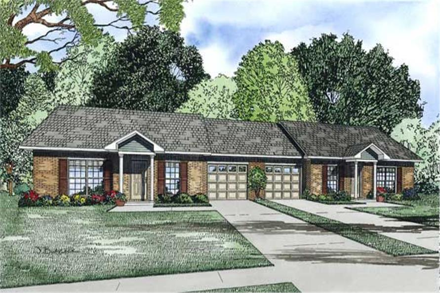 2-Bedroom, 1704 Sq Ft Multi-Unit Home Plan - 153-1219 - Main Exterior