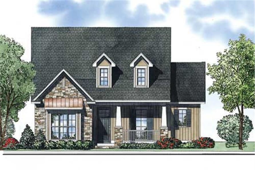 This is the front elevation of these Country Home Plans