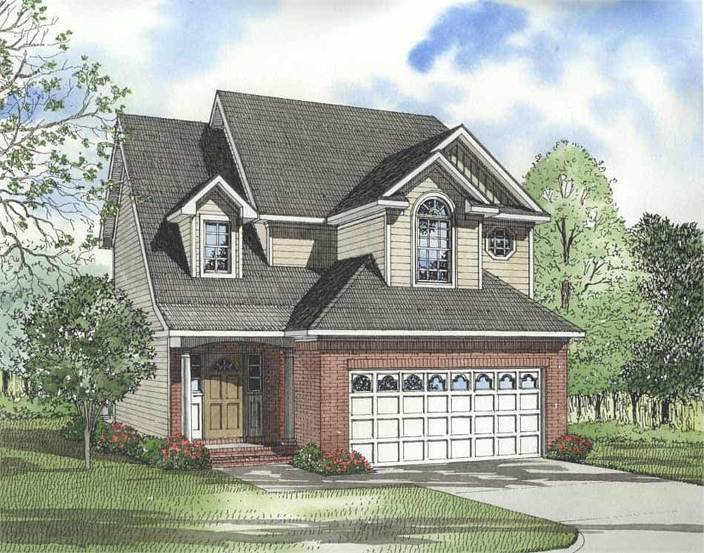 Color rendering of Country home plan (ThePlanCollection: House Plan #153-1222)