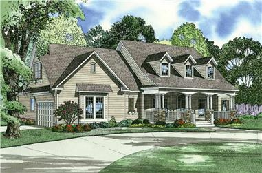 4-Bedroom, 2373 Sq Ft Country House Plan - 153-1224 - Front Exterior