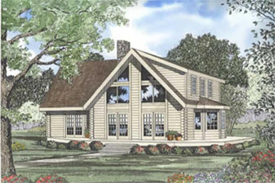 3-Bedroom, 2389 Sq Ft Log Cabin Home Plan - 153-1225 - Main Exterior
