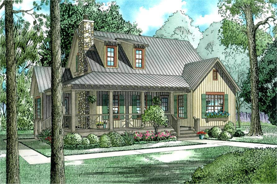 4-Bedroom, 1472 Sq Ft Country Home Plan - 153-1226 - Main Exterior