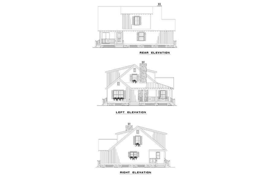 Home Plan Rear Elevation of this 4-Bedroom,1472 Sq Ft Plan -153-1226