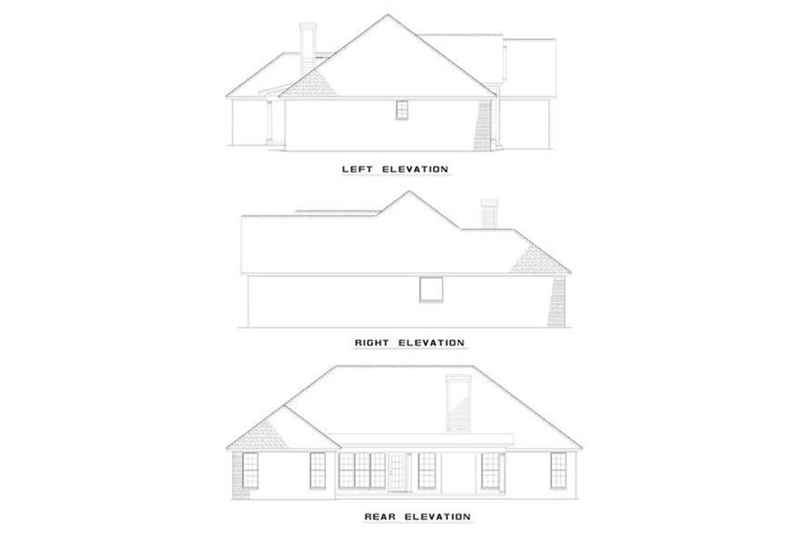 Home Plan Rear Elevation of this 3-Bedroom,1722 Sq Ft Plan -153-1227
