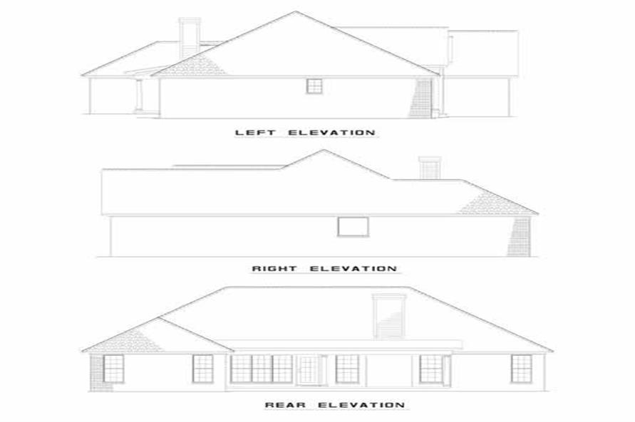 Home Plan Rear Exterior Elevations of this 3-Bedroom,1739 Sq Ft Plan -153-1228