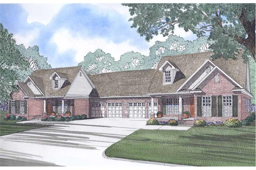 Front elevation of Multi-Unit home (ThePlanCollection: House Plan #153-1229)