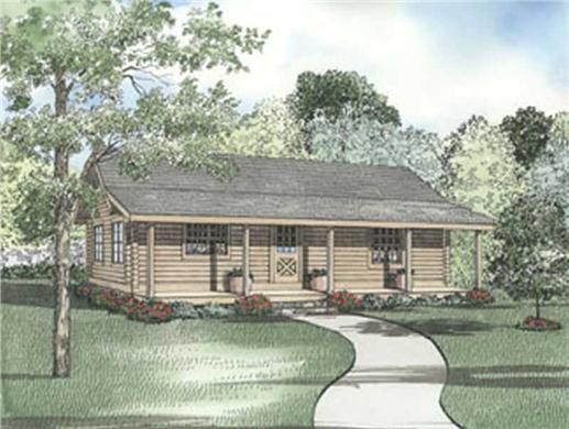 This image shows the front elevation for these Log Cabins and Vacation House Plans.