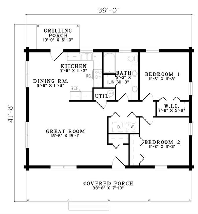 Small, Log House Plans - House Plan # 153-1231