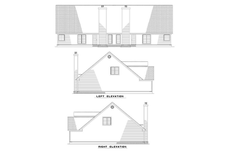 Home Plan Rear Elevation of this 6-Bedroom,1897 Sq Ft Plan -153-1232
