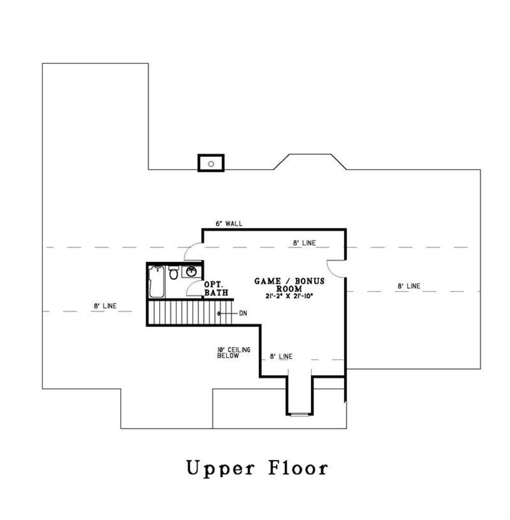 Southern traditional house plans home design ndg 347 3692 for Second story floor plan