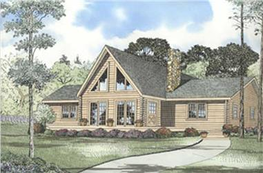 Log Home Plans Colored Rendering.