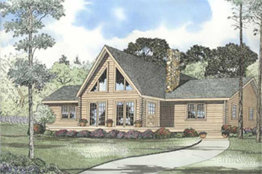3-Bedroom, 1502 Sq Ft Log Cabin Home Plan - 153-1239 - Main Exterior