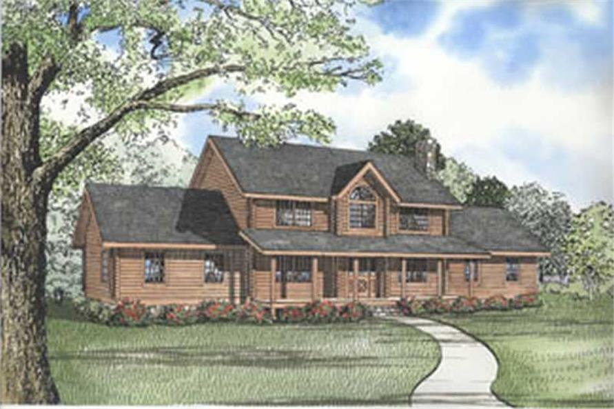 This image shows the front elevation for these Log Cabin House Plans.