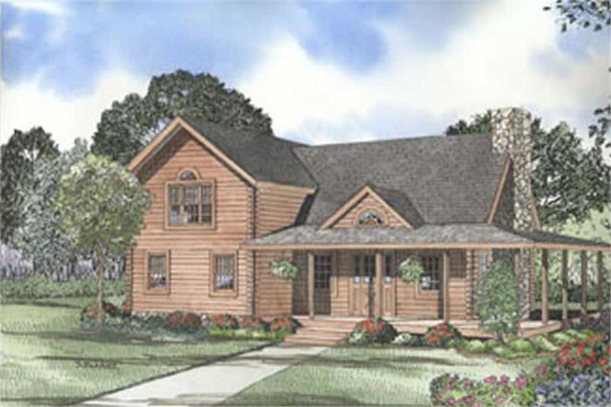 3-Bedroom, 1684 Sq Ft Log Cabin Home Plan - 153-1243 - Main Exterior