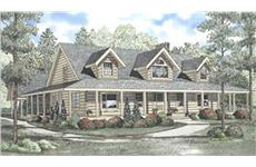 Log Cabin Style House Plans Front elevation.
