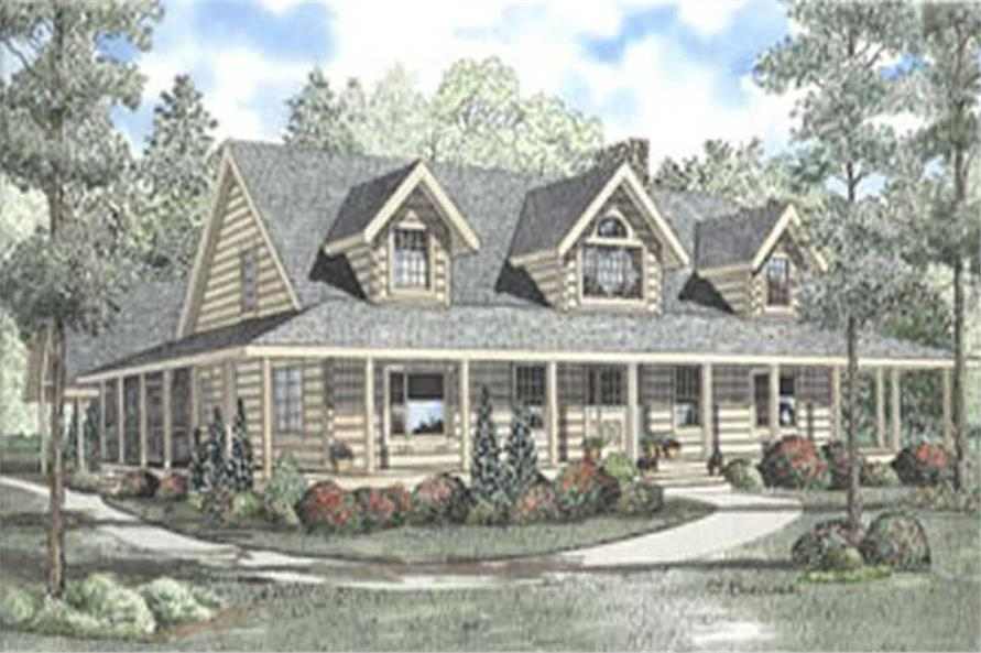 4-Bedroom, 3098 Sq Ft Country Log Cabin Plan - 153-1244 - Main Exterior