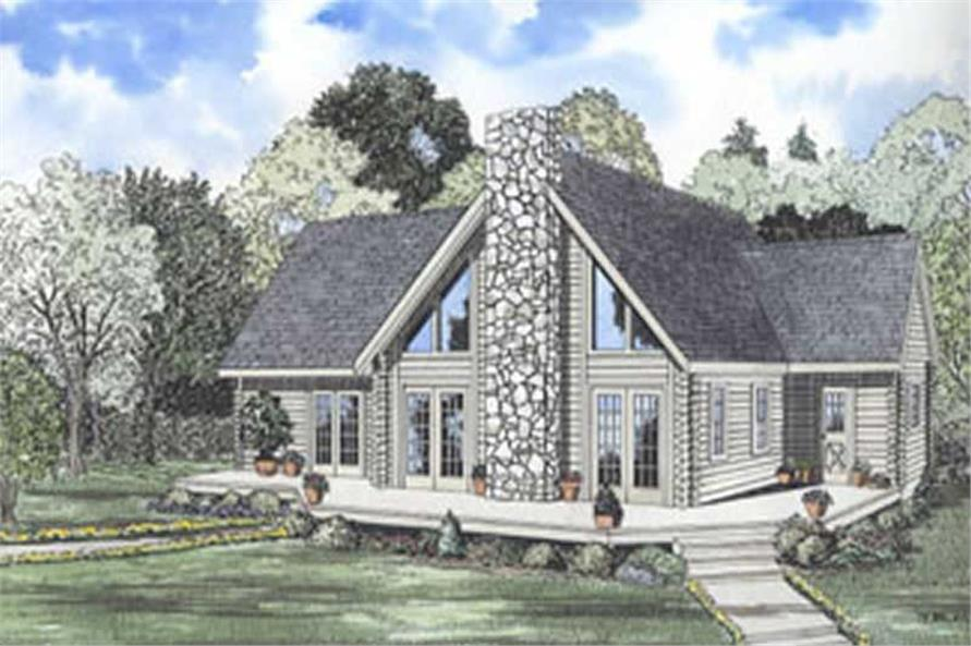 This image shows the front elevation for these Log Home Plans
