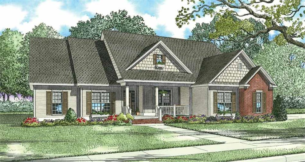 Front elevation of Country home (ThePlanCollection: House Plan #153-1247)