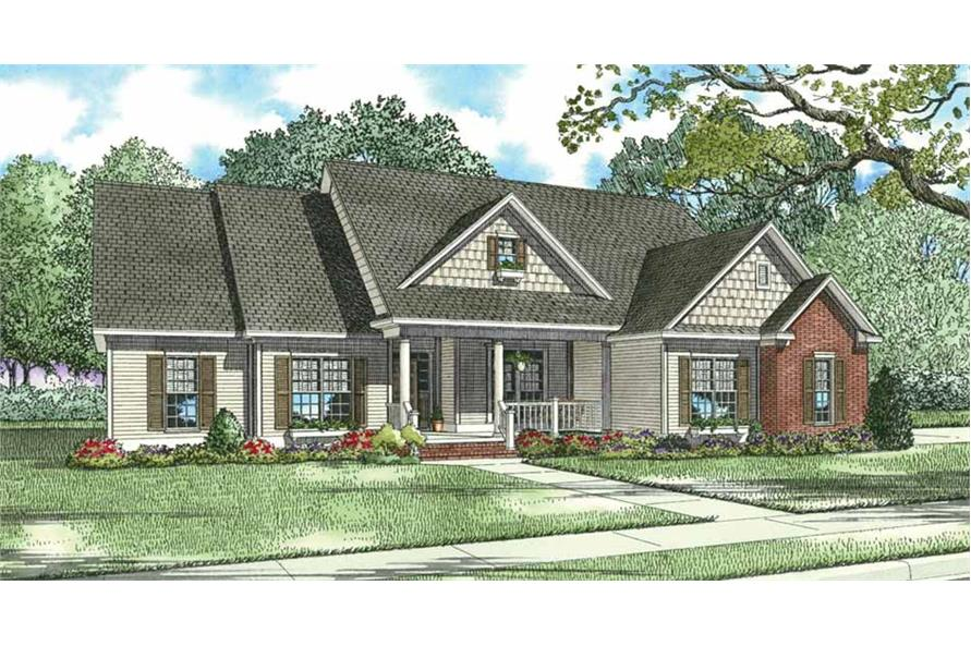 3-Bedroom, 2029 Sq Ft Country Home Plan - 153-1247 - Main Exterior