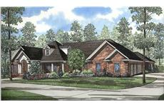 This image shows the front elevation for these Traditional House Plans,