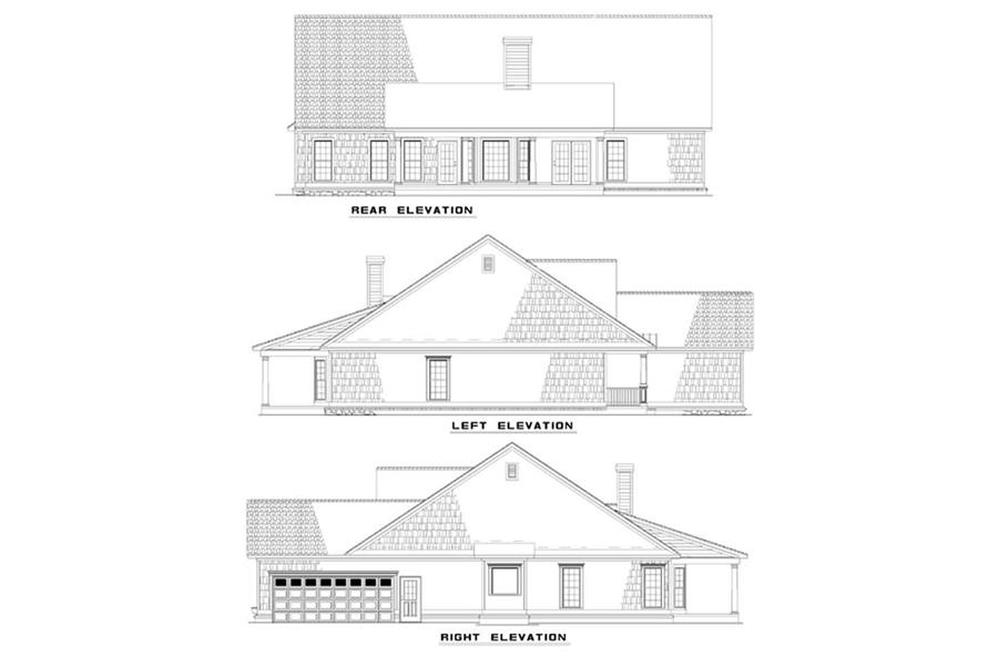 Home Plan Rear Elevation of this 4-Bedroom,2286 Sq Ft Plan -153-1252