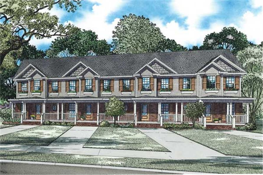 2-Bedroom, 980 Sq Ft Multi-Unit House Plan - 153-1253 - Front Exterior