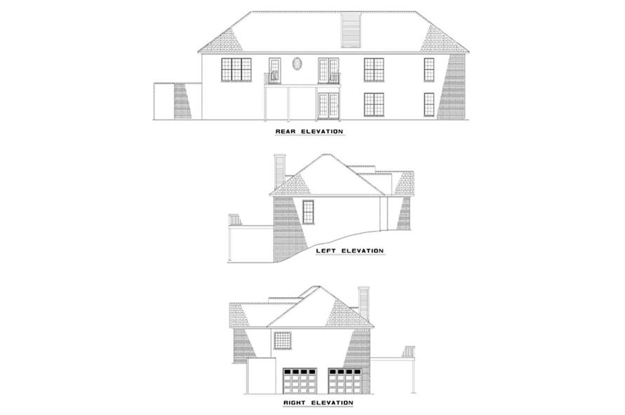Home Plan Rear Elevation of this 4-Bedroom,2005 Sq Ft Plan -153-1256