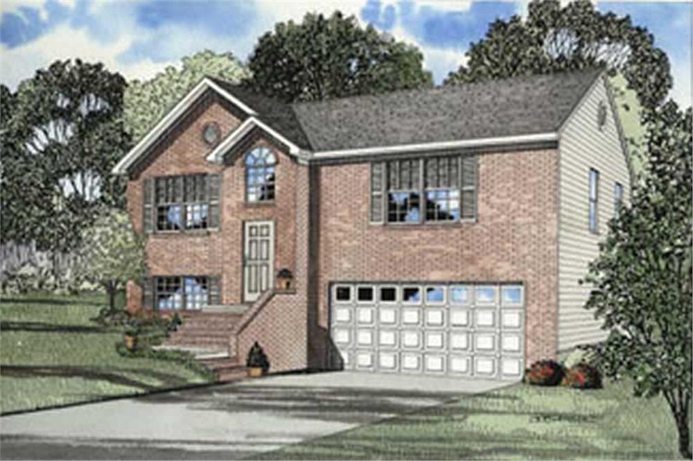 Color rendering of Colonial home plan (ThePlanCollection: House Plan #153-1258)