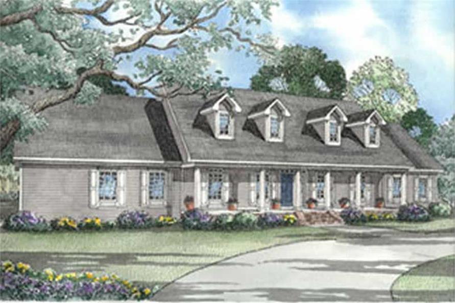 4-Bedroom, 3217 Sq Ft Country House Plan - 153-1259 - Front Exterior