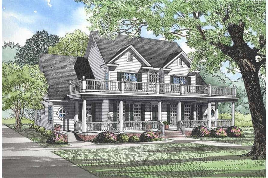 4-Bedroom, 3820 Sq Ft Colonial House Plan - 153-1261 - Front Exterior