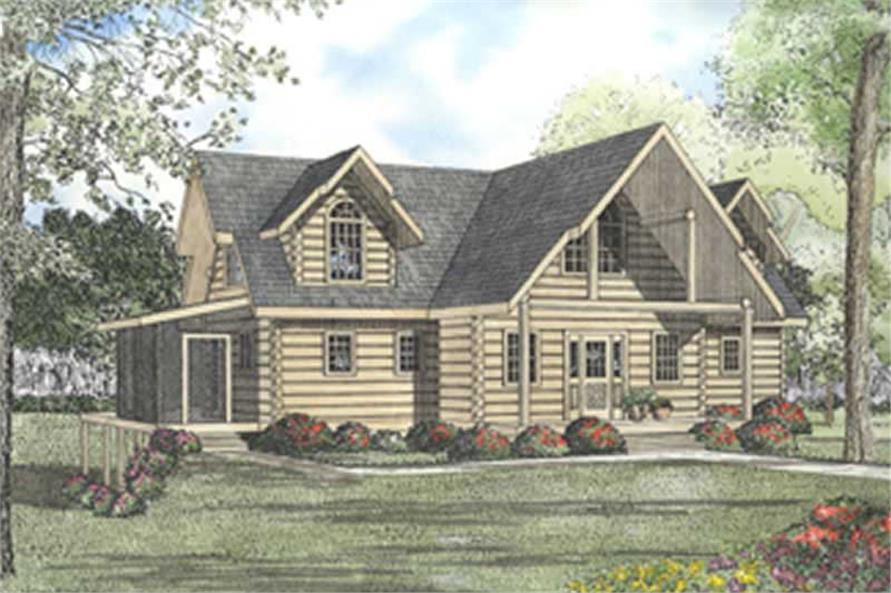 Log House plan # 5097 color rendering.