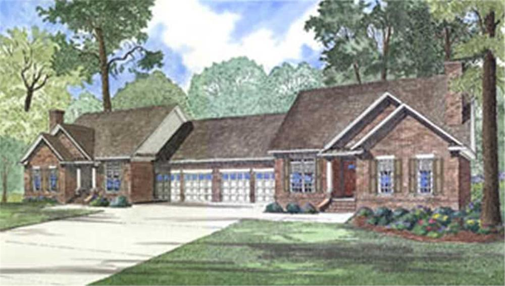 Front elevation of Multi-Unit home (ThePlanCollection: House Plan #153-1269)
