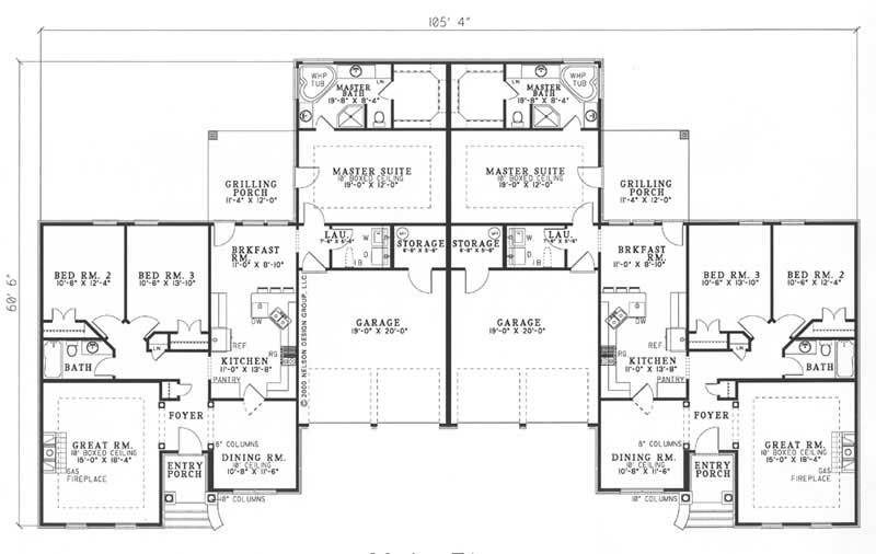 Traditional multi unit house plans home design carriage for Multi unit floor plans