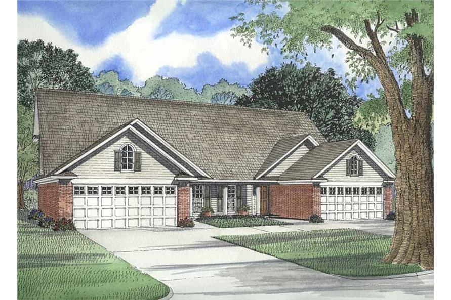 3-Bedroom, 1285 Sq Ft Per Unit Duplex Home Plan - 153-1271 - Main Exterior