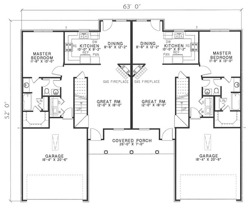 Traditional multi unit house plans home design wilshire for Multi unit floor plans