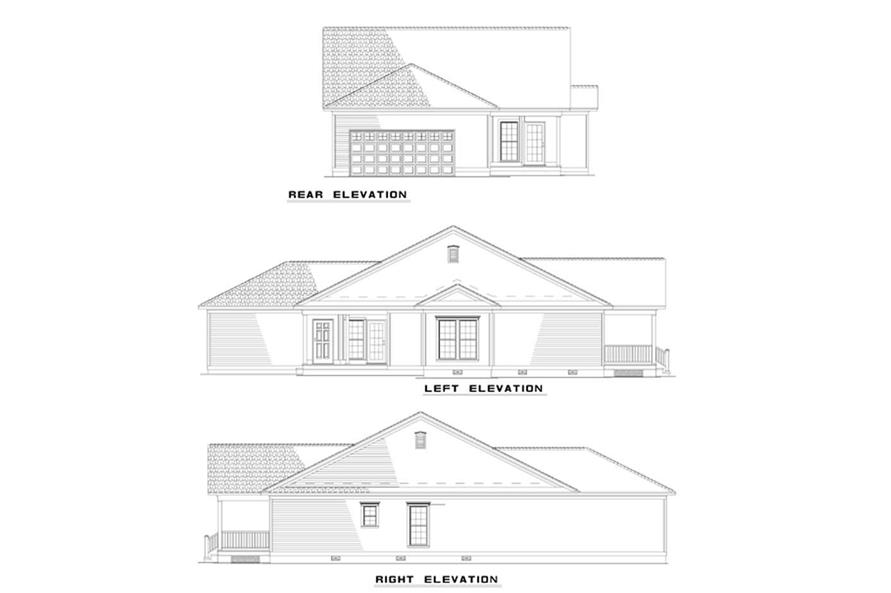 Home Plan Rear Elevation of this 3-Bedroom,1401 Sq Ft Plan -153-1272