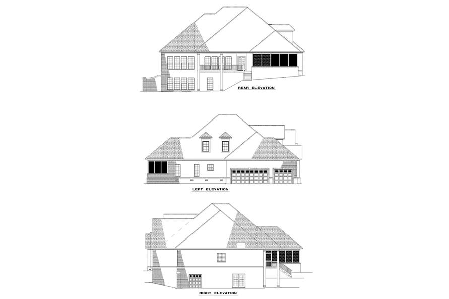 Home Plan Rear Elevation of this 4-Bedroom,3947 Sq Ft Plan -153-1273