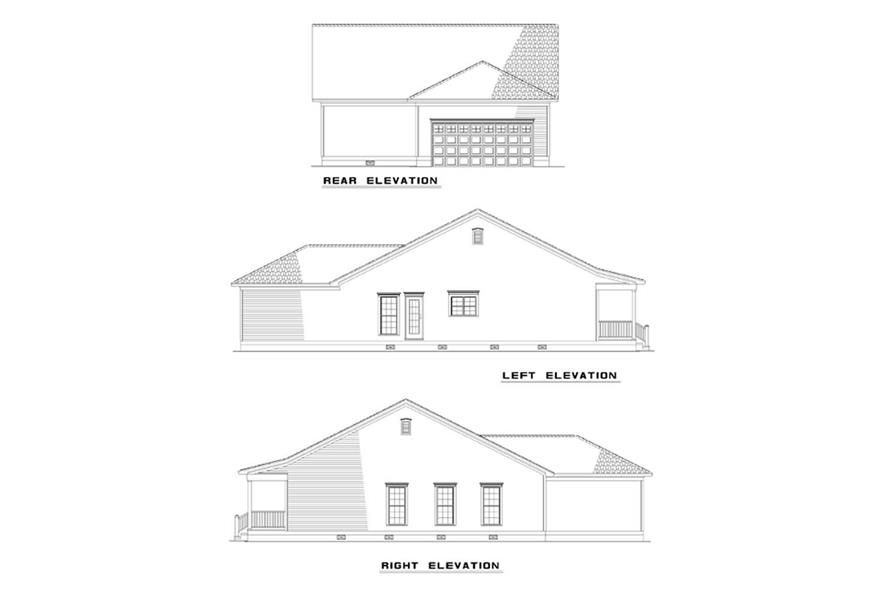 Home Plan Rear Elevation of this 3-Bedroom,1381 Sq Ft Plan -153-1276