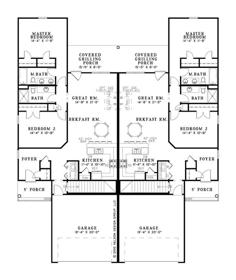 Multi unit house plan 153 1283 4 bedrm 1239 sq ft per for Multi unit home plans