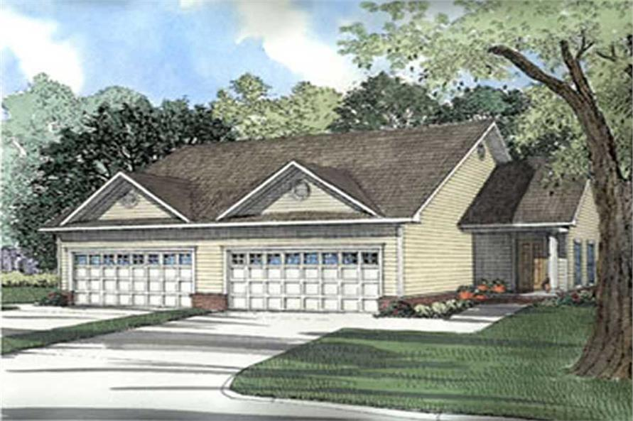 4-Bedroom, 1239 Sq Ft Multi-Unit Home Plan - 153-1283 - Main Exterior
