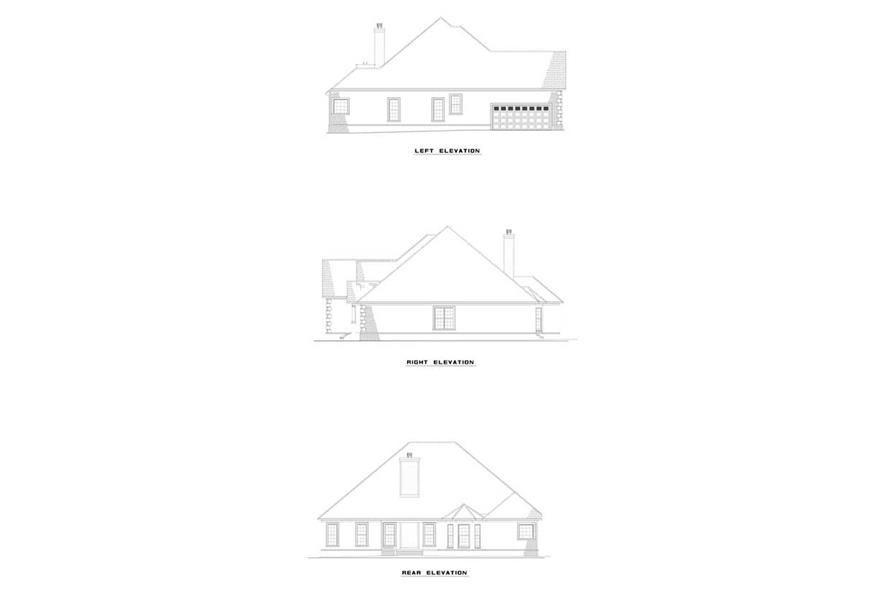 Home Plan Exterior Elevations of this 4-Bedroom,2542 Sq Ft Plan -153-1284