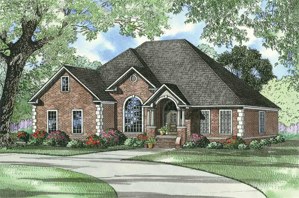 Front elevation of European home (ThePlanCollection: House Plan #153-1284)
