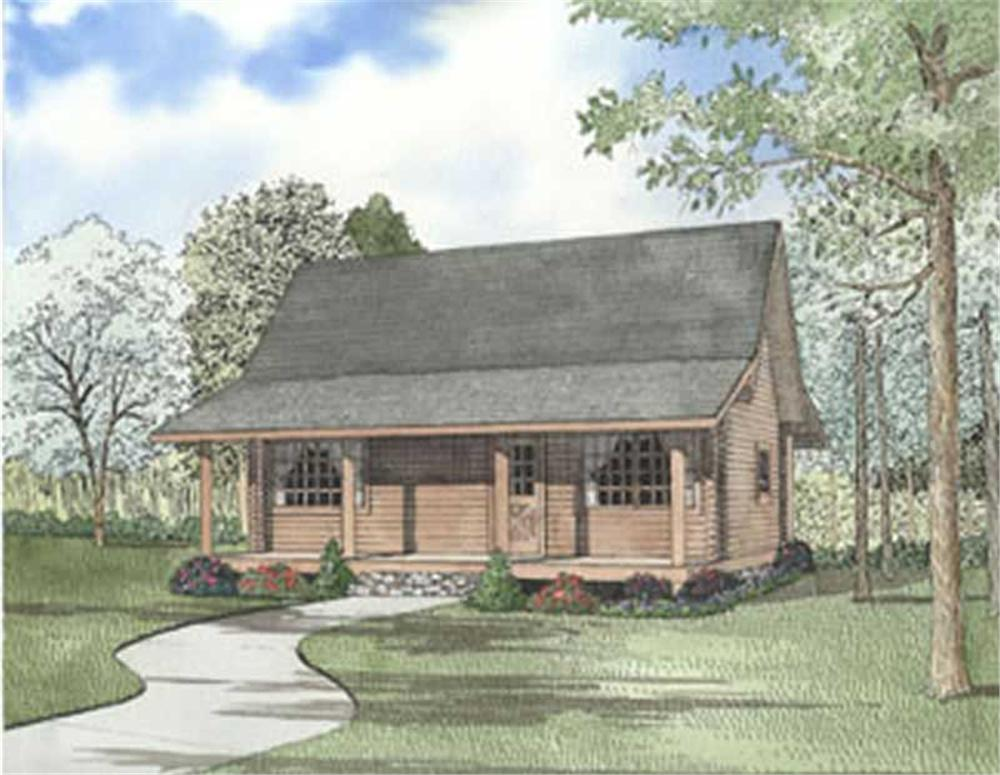 Log Cabins colored front elevation.