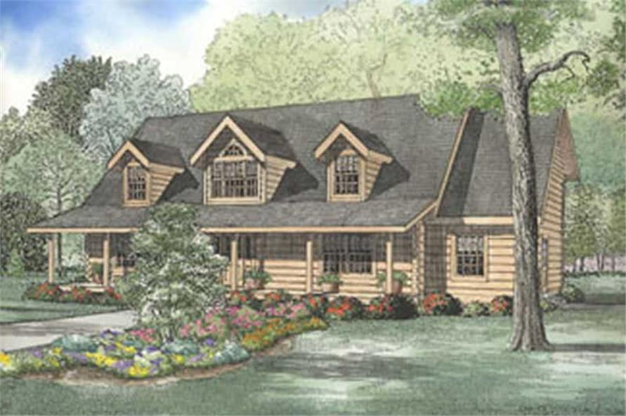 3-Bedroom, 3112 Sq Ft Log Cabin House Plan - 153-1288 - Front Exterior