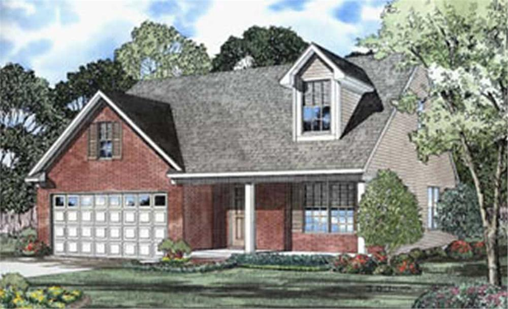 Color rendering of Country home plan (ThePlanCollection: House Plan #153-1289)
