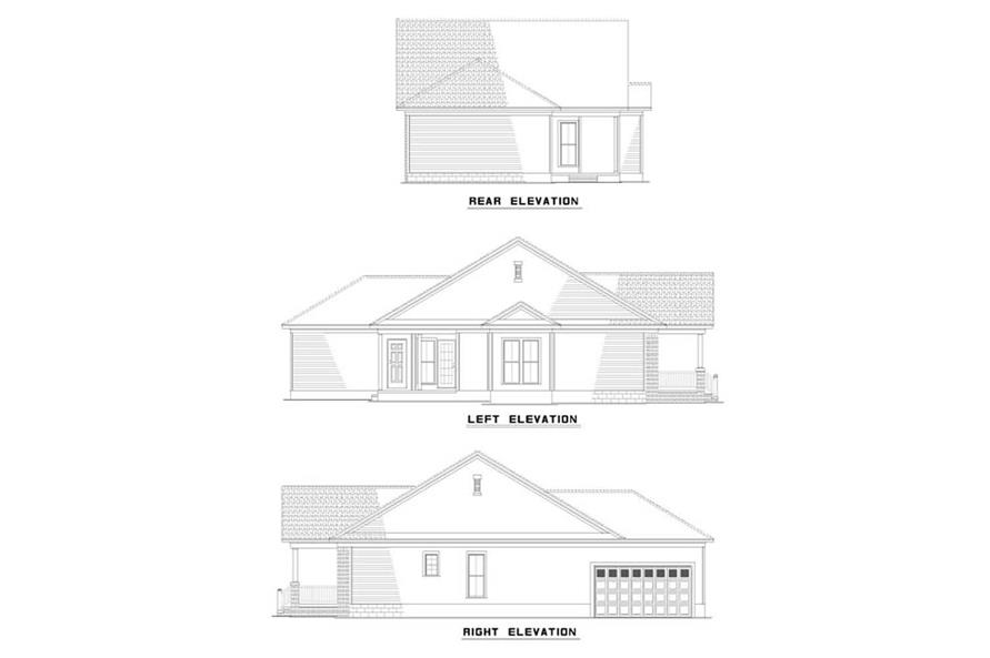 EXTERIOR ELEVATIONS of this 3-Bedroom,1399 Sq Ft Plan -1399